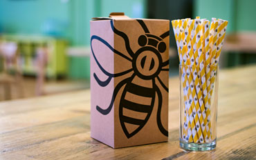 The Manchester Bee Paper Straw is exclusively available from Stephensons