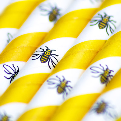 The Manchester Bee Paper Straw is exclusively available from Stephensons Catering Suppliers