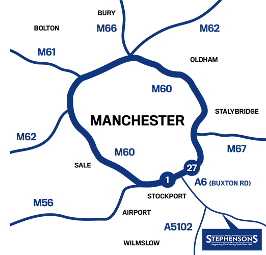 Stephenson's location in Greater Manchester