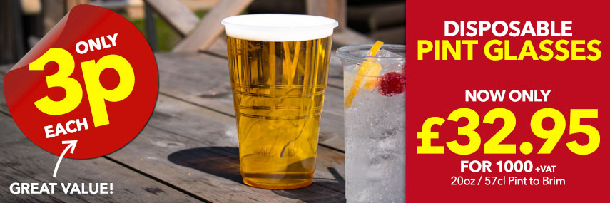 Disposable Pint Glasses from Stephensons Catering Suppliers
