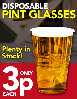 Great Prices on Disposable Plastic Pint Glasses from Stephensons Catering Suppliers