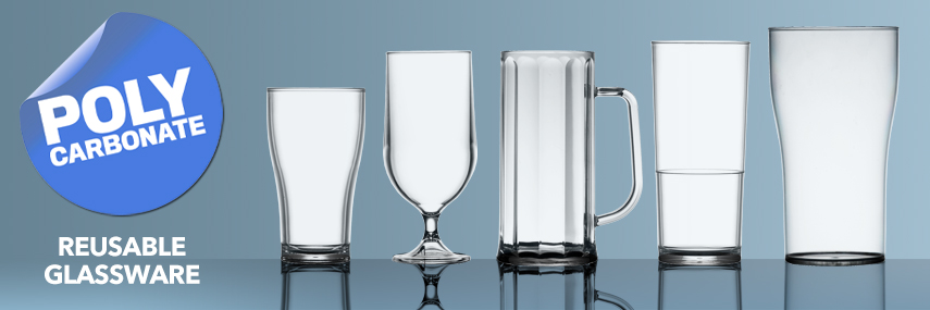 Polycarbonate Reusable Glassware from Stephensons Catering Suppliers