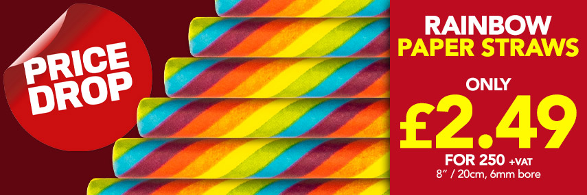 Eco-Friendly Rainbow Paper Straws from Stephensons Catering Suppliers
