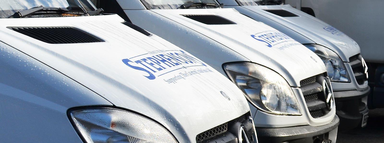 Stephensons maintain a dedicated fleet of delivery vans
